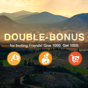 Double-Bonus for Inviting Friends. Give 1000. Get 1000.