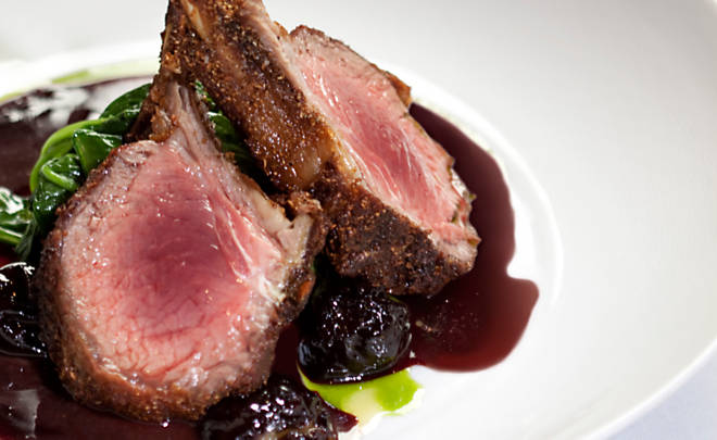 Coriander Crusted Lamb Rack with Foie Gras Stuffed Prunes and Port Wine Reduxtion