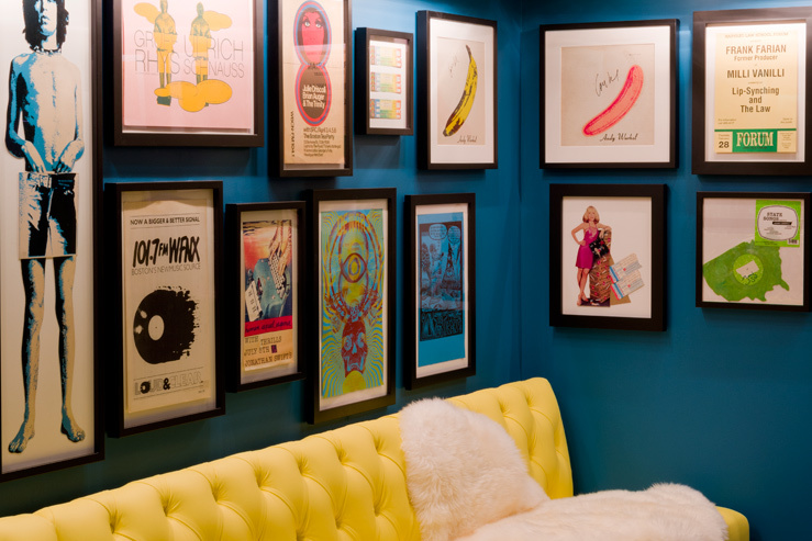 Rock posters from the Fenway neighborhoods musical heyday in the lobby at The Verb Hotel